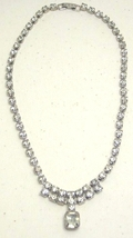 Vintage Clear Rhinestone Necklace with Center Dangle - $14.99