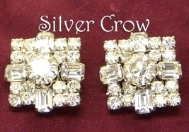Vintage Clear Rhinestone Large Square Earrings - $13.99
