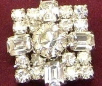 Vintage Clear Rhinestone Large Square Earrings