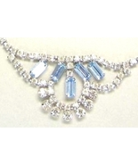 Vintage Clear Rhinestone Blue Baquette Rhinestone Accents Necklace - $20.99