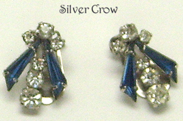 Vintage Rhinestone Dark Blue & Clear Clip On Earrings Austria - $10.99
