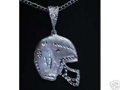 Primary image for LOOK Huge Football Helmet pendant Sterling silver 925 charm