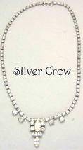 Vintage Rhinestone Necklace Clear Stone Baquette Marquise Focal - $14.99
