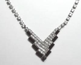 Vintage V Shaped Clear Rhinestone Necklace Black Edge - $23.99