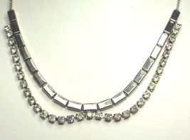 Vintage Clear Rhinestone & Rectangle Silver Tone Parure - $28.99