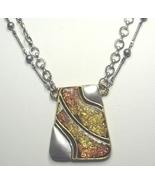 Vintage Chico's Gold & Copper Glitter Enamel Ne... - $17.99