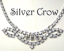 Vintage Rhinestone Necklace with Ornate Focal Bridal Wedding Prom - $24.99