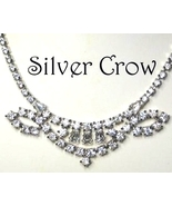 Vintage Rhinestone Necklace with Ornate Focal Bridal Wedding Prom - $24.99