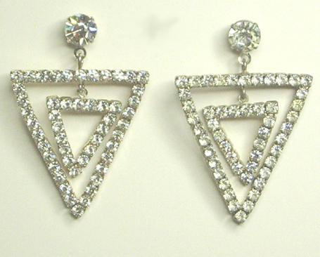 Vintage triangle rhinestone earrings