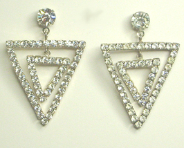 Vintage Clear Rhinestone Double Triangle Earrings - $10.99
