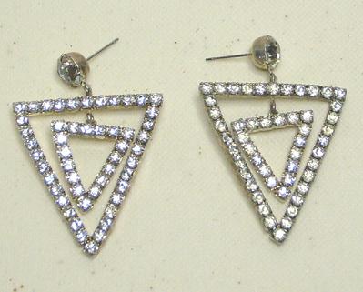 Vintage Clear Rhinestone Double Triangle Earrings