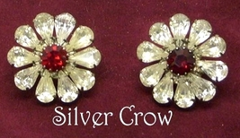 Vintage Rhinestone Floral Earrings Clear with Red Center - $16.99