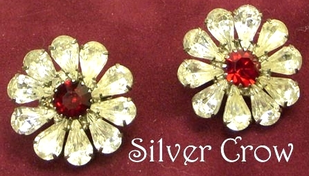 Vintage Rhinestone Floral Earrings Clear with Red Center