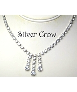 Vintage Clear Rhinestone Necklace Triple Dangle Center Piece Bridal Prom - $17.99