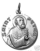 LOOK Sterling Silver 925 St. Saint Peter Pendant Charm Medal - $20.03