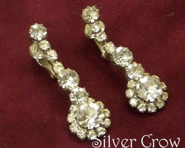 Vintage Clear Rhinestone Dangle Earrings - $14.99