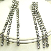 Vintage Triple Strand Clear  Rhinestone Earrings - $12.99