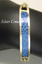 Vintage Sterling Silver & Blue Mosaic Bangle Style Bracelet Mexico - $20.99