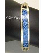 Vintage Sterling Silver & Blue Mosaic Bangle St... - $20.99