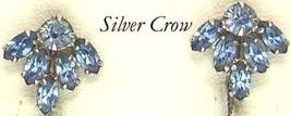 Vintage B David Sapphire Blue Rhinestone Clip Earrings - $12.99