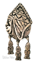 Vintage Mask Brooch  Primitive Articulated 900 Silver Tribal Pin - $67.00