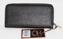 Diophy Black Women's Large Faux Leather Zip Around Wallet