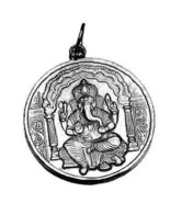 LOOK Graceful Ganesh Hindu White gold plated Pendant India - $57.18