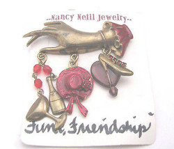 Red Hat PIN Charms Victorian Hand Design Handcrafted Brass Enameled - $29.69