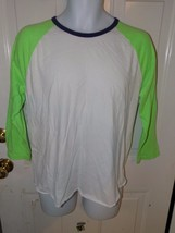 American Eagle LS Crewneck White/Neon Green/Blue Size M Athletic Fit Siz... - $671,28 MXN