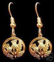 LOOK Gold Plated Celtic Thistle shamrock Earrings Jewelry - $31.47