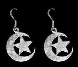 LOOK Moon and star Allah Muslim Islam Earrings Silver .925 - $29.55