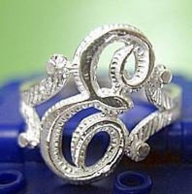 LOOK Real Sterling silver 925 letter Initial E ring jewelry