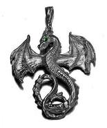 LOOK Greek Mythology Fantasy Emerald eye Dragon Pendant Charm Sterling s... - $52.44