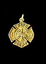 LOOK FireFighter Maltese protect cross Badge gold pltd Sterling Silver C... - $17.45