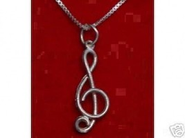 LOOK Large Music Note Silver Pendant Treble Cle... - $16.85