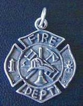 LOOK FireFighter Maltese protection cross Badge Sterling Silver Pendant ... - $14.94