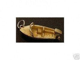 LOOK Sterling Silver Boat Pendant Charm Gold Plated - $15.14