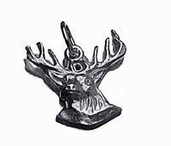 LOOK Moose Head Sterling Silver charm pendant Deer bust wall - $14.14