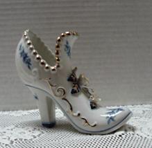 Vintage Brinns Porcelain Blue & White Shoe Vase // Victorian Shoe / Figu... - $13.75