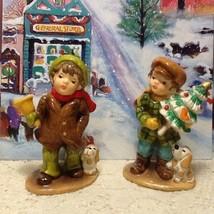 Pair Of Cute Boy Pine Trees Dogs Christmas Winter Ceramic Figurines Left... - $18.00
