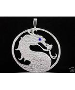 LOOK Mortal Kombat Sterling silver .925 Blue stone Sub-Zero Dragon Penda... - $86.46