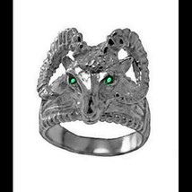 LOOK New Very detailed Ram Heavy Real Sterling Silver .925 Ring Emerald eyes Jew - $62.56
