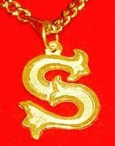 LOOK New Gothic Letter S Gold Plated Charm Initial Jewelry - $18.30