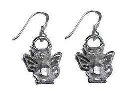 LOOK Guardian Angel Cat Kitten Earrings Sterling silver .925 - $42.68