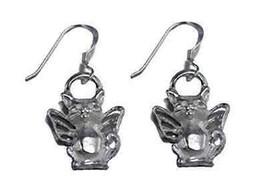 LOOK Guardian Angel Cat Kitten Earrings Sterling silver .925 - $863,46 MXN