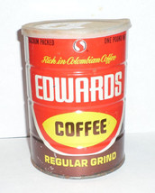 ORIGINAL 1 POUND EDWARDS COFFEE CAN ADVERTISING... - $6.83