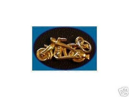 LOOK Motorcycle Bike Pendant Silver Charm 24kt Gold Plated - $13.04