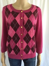 TALBOTS Thin Knit Cardigan Sweater Medium Purple Wool Argyle Button Fron... - $24.20