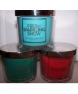 3 Bath & Body Works Scented Candle- Holly Berry Balsam, Holiday, Sparkli... - $22.50