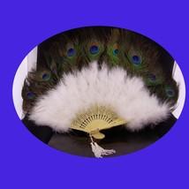 """LARGE Diva Fan Peacock feather fan burlesque fan 26"""" fan Masquerade cost... - $65.00"""